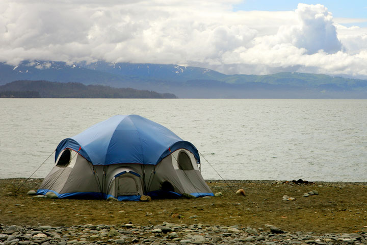 camping tent on the beach in Homer, Alaska
