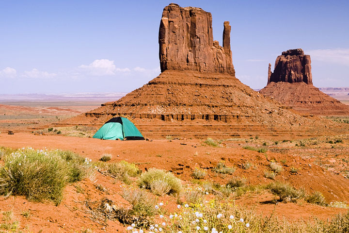 green camping tent in the Arizona desert