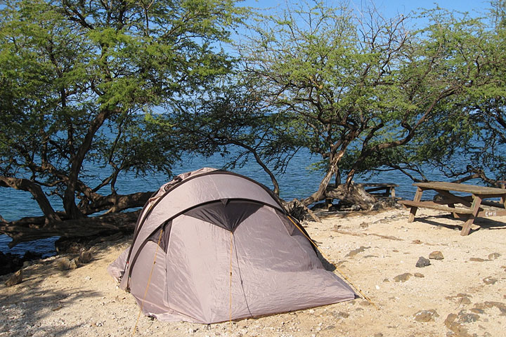 tent at an oceanfront campsite in Hawaii