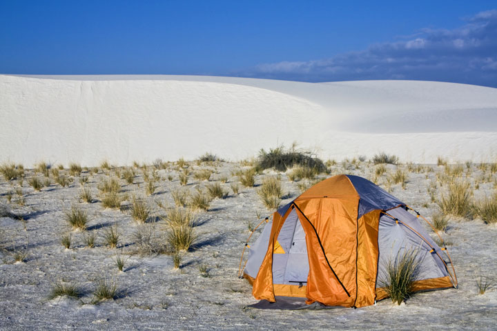 camping at White Dunes National Monument, NM