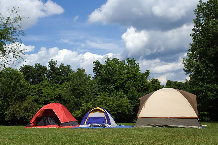 camping tents in a Pennsylvania park
