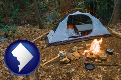 washington-dc map icon and camping tent at a wilderness campsite