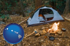 hawaii map icon and camping tent at a wilderness campsite