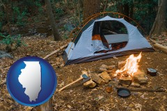 illinois map icon and camping tent at a wilderness campsite