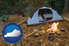 kentucky map icon and camping tent at a wilderness campsite