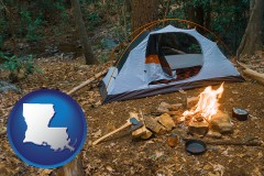 louisiana map icon and camping tent at a wilderness campsite