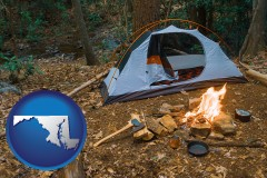 maryland map icon and camping tent at a wilderness campsite