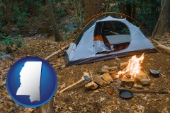 mississippi map icon and camping tent at a wilderness campsite