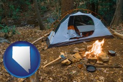 nevada map icon and camping tent at a wilderness campsite