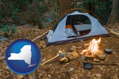 new-york map icon and camping tent at a wilderness campsite