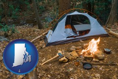 rhode-island map icon and camping tent at a wilderness campsite