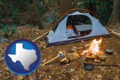 texas map icon and camping tent at a wilderness campsite