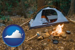 virginia map icon and camping tent at a wilderness campsite