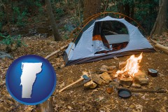 vermont map icon and camping tent at a wilderness campsite