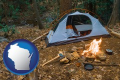wisconsin map icon and camping tent at a wilderness campsite