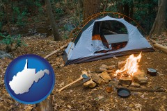 west-virginia map icon and camping tent at a wilderness campsite