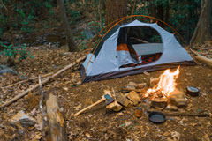 camping tent at a wilderness campsite