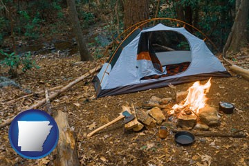 camping tent at a wilderness campsite - with Arkansas icon