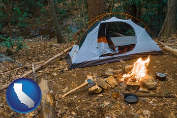 camping tent at a wilderness campsite - with California icon