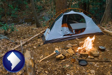 camping tent at a wilderness campsite - with Washington, DC icon