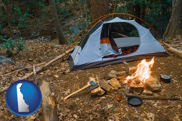 camping tent at a wilderness campsite - with Delaware icon