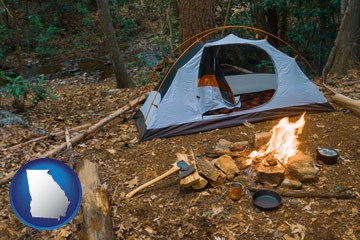 camping tent at a wilderness campsite - with Georgia icon