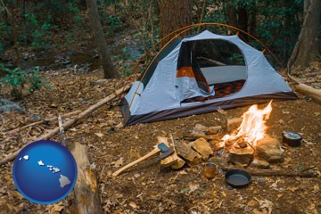 camping tent at a wilderness campsite - with Hawaii icon