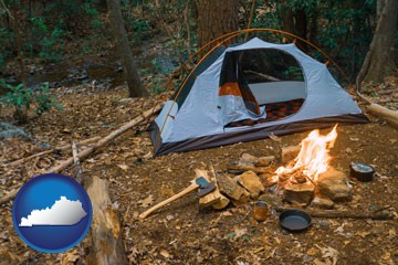 camping tent at a wilderness campsite - with Kentucky icon