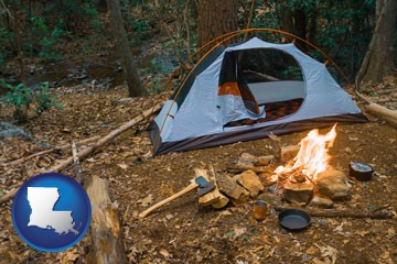 camping tent at a wilderness campsite - with Louisiana icon