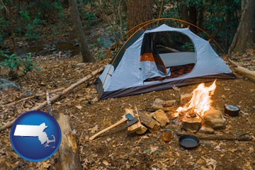 camping tent at a wilderness campsite - with Massachusetts icon