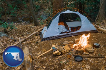 camping tent at a wilderness campsite - with Maryland icon