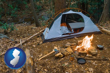 camping tent at a wilderness campsite - with New Jersey icon