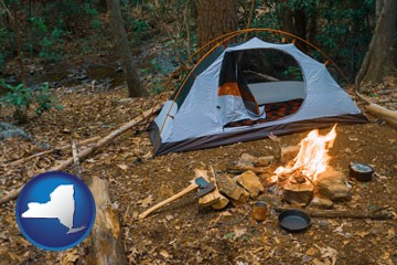 camping tent at a wilderness campsite - with New York icon