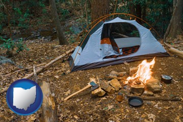 camping tent at a wilderness campsite - with Ohio icon