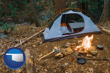 camping tent at a wilderness campsite - with Oklahoma icon