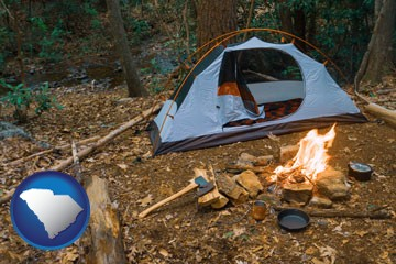 camping tent at a wilderness campsite - with South Carolina icon