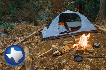 camping tent at a wilderness campsite - with Texas icon