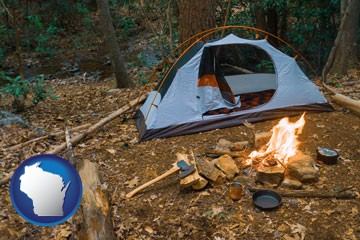 camping tent at a wilderness campsite - with Wisconsin icon