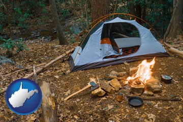 camping tent at a wilderness campsite - with West Virginia icon