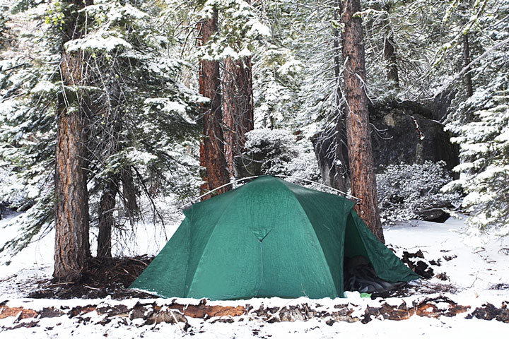 winter camping in a tent at Yosemite National Park